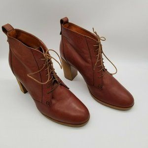 1937 Footwear Brown Leather Lace Up Ankle Booties